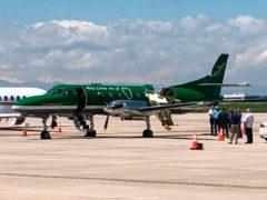 A Key Lime Air Metroliner that landed safely at Centennial Airport after a mid-air collision near Denver (CBS Denver via AP)