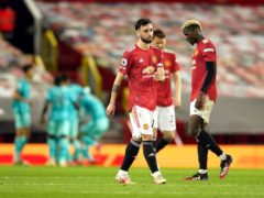 Bruno Fernandes cut a frustrated figure after Manchester United lost to Liverpool (Dave Thompson/PA)
