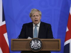 Prime Minister Boris Johnson during a media briefing in Downing Street, London, on coronavirus (Covid-19). Picture date: Friday May 14, 2021.
