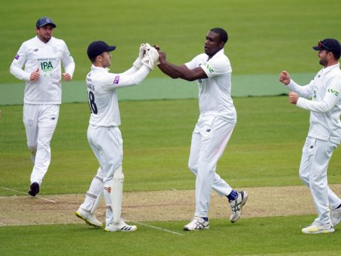 Keith Barker, centre, was in fine form against Middlesex at Lord's (Adam Davy/PA)