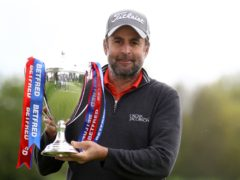 England's Richard Bland poses with the trophy after winning the Betfred British Masters at The Belfry (Tim Goode/PA)