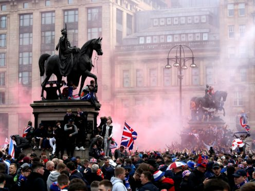 Rangers fans gathered to celebrate their side's title triumph (Andrew Milligan/PA)