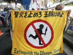 Protesters called for the Tokyo Games to be cancelled earlier this week (Koji Sasahara/AP)