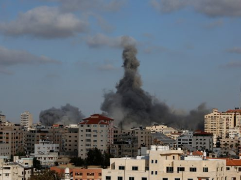 The Israeli military unleashed a wave of heavy airstrikes Monday on the Gaza Strip (Hatem Moussa/AP)