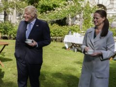 Nurse Jenny McGee at a Downing Street garden party with Prime Minister Boris Johnson last July (Andrew Parsons/Downing Street/PA)