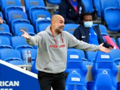 Pep Guardiola's Manchester City lost at Brighton after going 2-0 up (Gareth Fuller/PA)