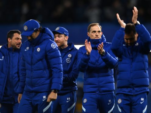 Thomas Tuchel, second right, and Chelsea face an anxious wait over N'Golo Kante's fitness (Glyn Kirk/PA)