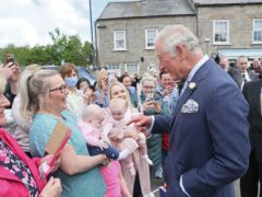 The Prince of Wales speaks to wellwishers in Caledon (Brian Lawless/PA)