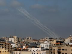 A rocket is launched from the Gaza Strip towards Israel (AP/Hatem Moussa)