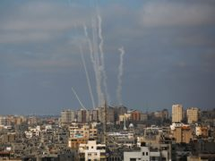 Rockets are launched from the Gaza Strip towards Israel (Hatem Moussa/AP)