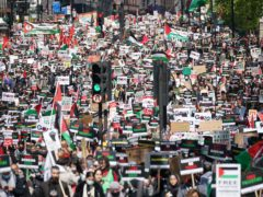 Protesters walk along Piccadily in central London (Yui Mok/PA)
