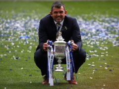 St Johnstone manager Callum Davidson celebrates cup double (Andrew Milligan/PA)