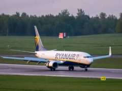 The Ryanair plane which was carrying opposition figure Roman Protasevich (AP)