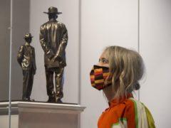 Deputy mayor Justine Simons looks at Antelope by Samson Kambalu at the National Gallery (Kirsty O'Connor/PA)