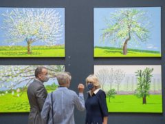 The Duchess of Cornwall views works by artist David Hockney at the Royal Academy of Arts (Paul Grover/The Daily Telegraph/PA)