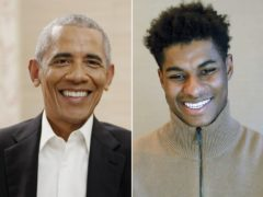 President Barack Obama and Marcus Rashford in conversation on Zoom (Penguin Random House/PA)