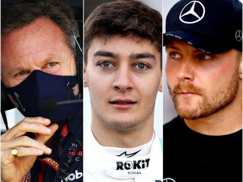 Christian Horner (left), George Russell (centre) and Valtteri Bottas (FIA Pool/David Davies/Martin Rickett/PA)