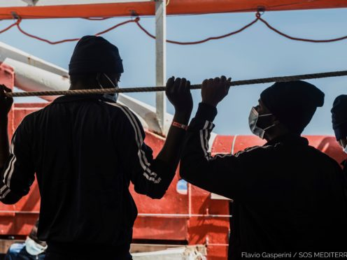Migrants on board the Ocean Viking (Flavio Gasperini/SOS Mediterranee/AP)