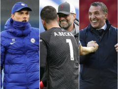Jurgen Klopp, centre right, had Alisson Becker to thank for keeping Liverpool in contention with Thomas Tuchel's, left, Chelsea and Brendan Rodgers' Leicester (Martin Rickett/Tim Keeton/Peter Powell/PA)