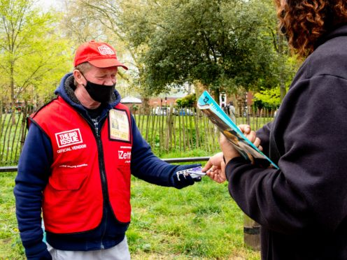 Increase in number of Big Issue vendors selling the magazine through cashless technology (Louise Haywood-Schiefer/PA)
