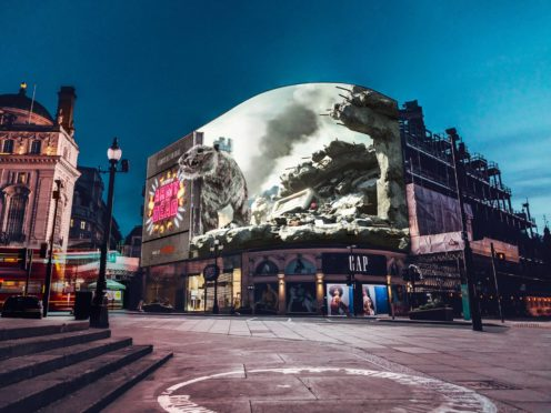 The tiger in Piccadilly Lights (Netflix/PA)