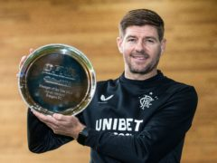 Steven Gerrard with his Scottish Football Writers' award (Kirk O'Rourke/PA)