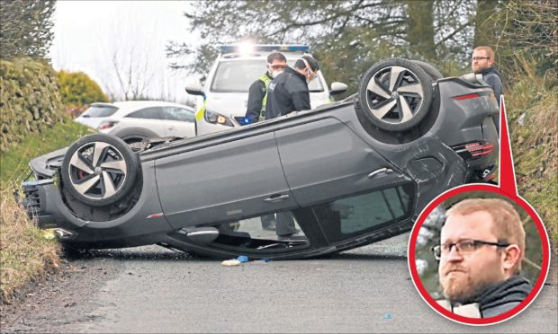 Drink-driver caught on camera moments after flipping car