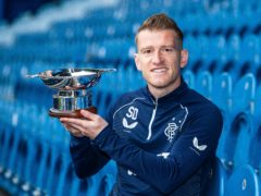 Rangers midfielder Steven Davis with his SFWA award (Kirk O'Rourke/PA)