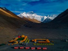 Mount Everest base camp (Purbu Zhaxi/Xinhua via AP)