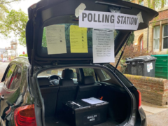 The pop-up polling station in a car boot in Oxford (Toby Porter/@tobyhporter/PA)