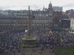 Pro-Palestine supporters have gathered in Glasgow's George Square (George Square Cam/ Glasgow City Council/PA)
