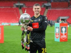 Josh McPake lifts the FA Trophy at Wembley (Matt Kirkham, TownPix/PA handout)