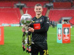 Josh McPake lifts the FA Trophy at Wembley (Matt Kirkham, TownPix/PA handout)