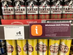 Public Health Scotland have been studying the impact of minimum unit pricing (Andrew Milligan/PA)