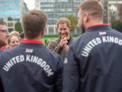 The Duke of Sussex meets Team UK members ahead of last year's scheduled Invictus Games, which was called off due to the pandemic. Harry has announced the 2023 Games will be held in Germany (Paul Grover/Daily Telegraph/PA)
