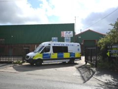 Police at the Albion Works industrial estate in Brierley Hill, West Midlands (Matthew Cooper/PA)