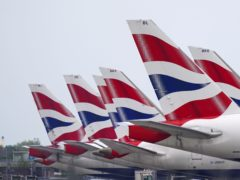 A British Airways plane was damaged when it tipped on to its nose at Heathrow Airport (Steve Parsons/PA)