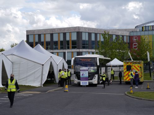 The mobile Covid vaccination centre at the ESSA academy in Bolton (Danny Lawson/PA)