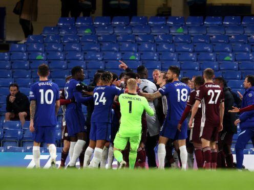 Tempers flared towards the end of Chelsea's Premier League match with Leicester (Catherine Ivill/PA)