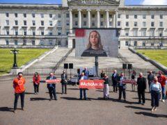 Irish language campaigners at Stormont (Liam McBurney/PA)