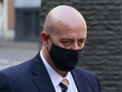 West Mercia Police constable Benjamin Monk arrives at Birmingham Crown Court where he is accused of the murdering Dalian Atkinson. (Joe Giddens/PA)