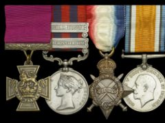 The Victoria Cross (left) awarded to the then Lieutenant Charles Grant