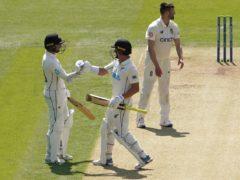 New Zealand's Devon Conway (left) celebrates after reaching 200 runs (Adam Davy/PA)