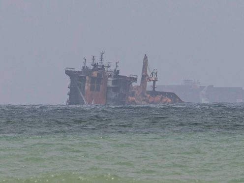 Fire-damaged container ship MV X-Press Pearl (AP)