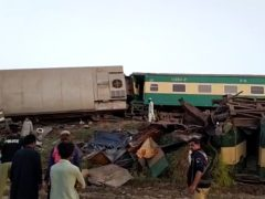 Two trains after a collision in Ghotki, Pakistan (AP)