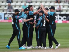Worcestershire Rapids' Josh Tongue (centre) and team-mates celebrate taking the wicket of Outlaws' Peter Trego (David Davies/PA)