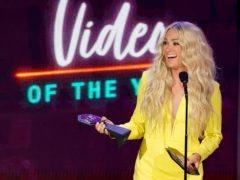 Carrie Underwood accepts the award for video of the year (Mark Humphrey/AP)