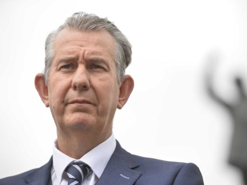 DUP Leader Edwin Poots speaks to the media about the latest updates on the Northern Ireland protocol, Brexit and the north south ministerial council, in front of the statue of Edward Carson at Stormont buildings, Belfast. Picture date: Thursday June 10, 2021.