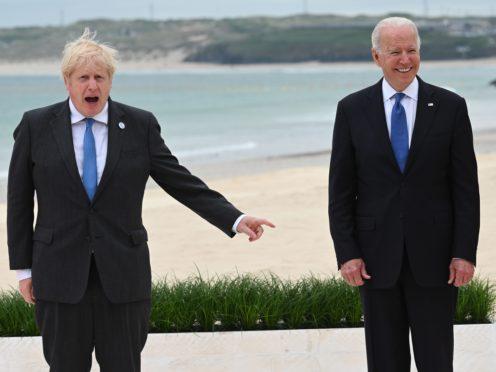 US President Joe Biden urged Boris Johnson to protect the Northern Ireland peace process (Leon Neal/PA)