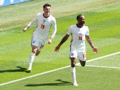 England's Raheem Sterling celebrates scoring the winning goal (Martin Rickett/PA)